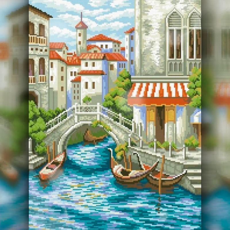 Алмазная вышивка мозаика The Wortex Diamonds Венеция 30x40см TWD30039 полная зашивка квадратные стразы. Набор