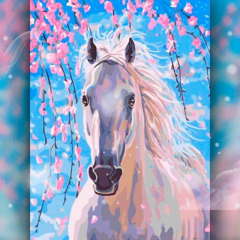 Алмазная вышивка мозаика The Wortex Diamonds Белый конь 30x40 TWD20006 полная зашивка квадратные стразы. Набор