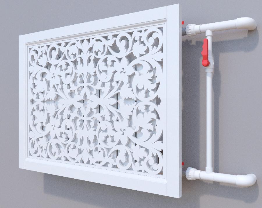 Декоративная решетка на батарею SMARTWOOD | Экран для радиатора | Накладка на батарею Решетка, Без отделки, 600*1200