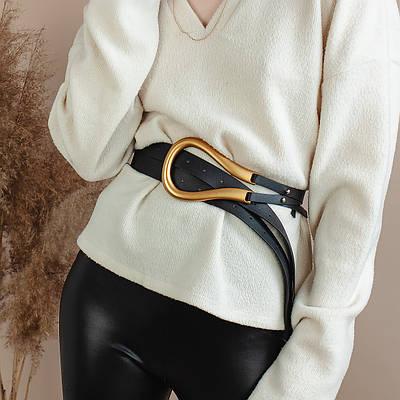 Ремень кожаный женский золотая пряжка подкова c двойным ремешком