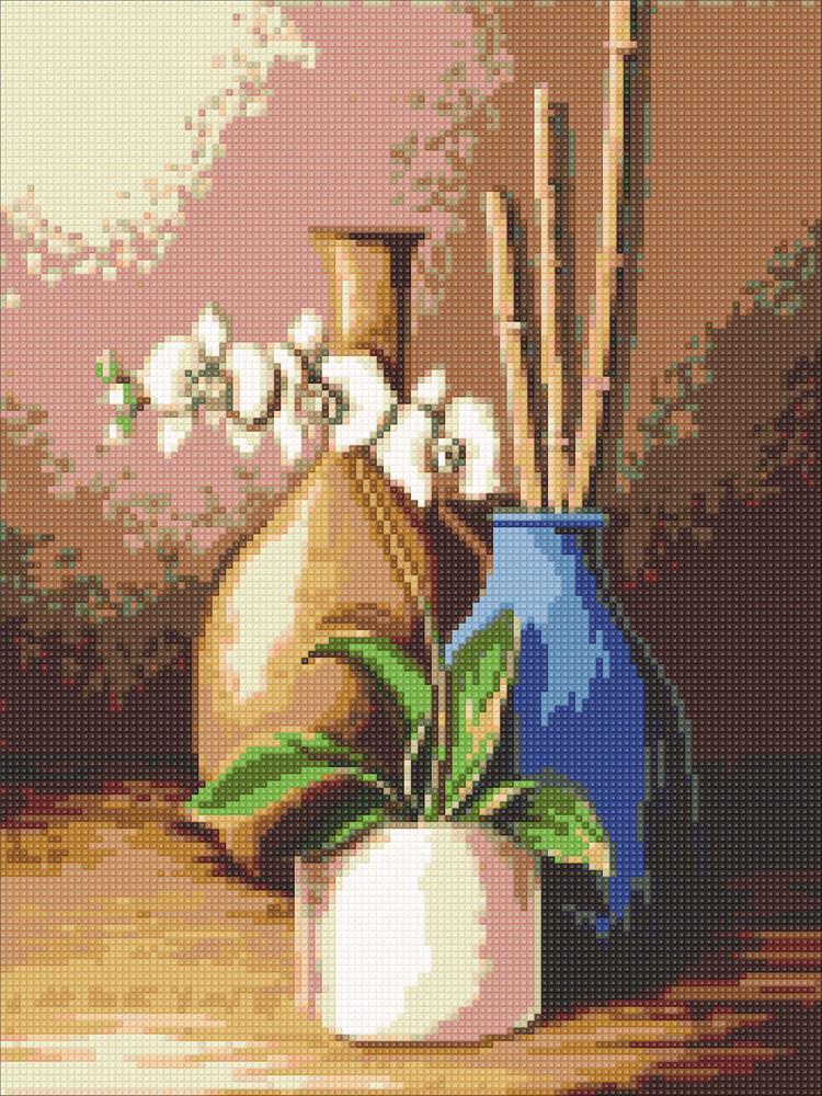 Алмазна мозаїка Біла орхідея DM-310 30х40см Повна зашивання. Набір алмазної вишивки натюрморт