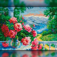 Алмазная вышивка мозаика The Wortex Diamonds Цветы на фоне гор 30x40 TWD10025 полная зашивка квадратные, фото 1