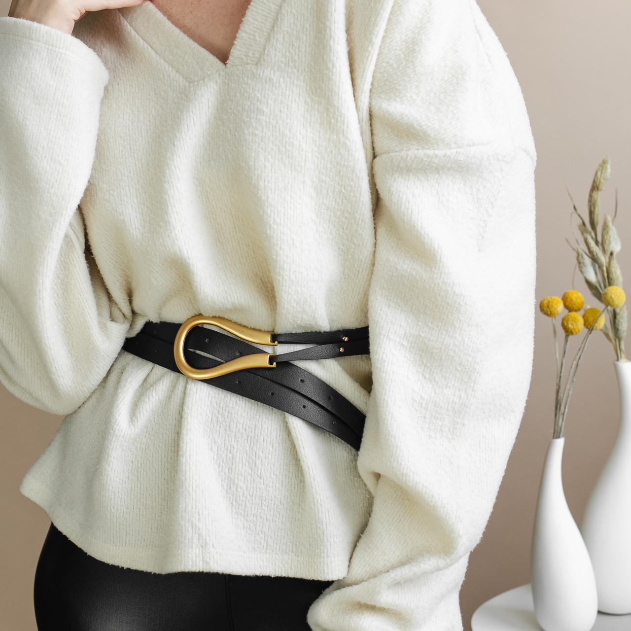 Ремень кожаный женский  мини золотая пряжка подкова c двойным ремешком