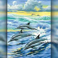 Алмазная вышивка мозаика The Wortex Diamonds Дельфины в море 30x40см TWD20011 полная зашивка квадратные, фото 1