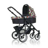 Универсальная коляска 2 в 1 ABC Design Mamba, цвет Amore nero - черный, цветные вставки сердечки