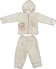 Теплий костюм для новонароджених малюків зріст 62 2-3 міс на хлопчика дівчинку комплект дитячий махровий білий