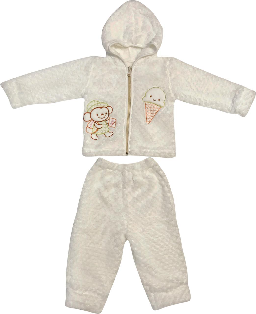 Тёплый костюм для новорожденных малышей рост 74 6-9 мес на мальчика девочку комплект детский махровый белый