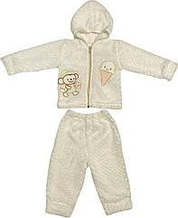 Теплий костюм для новонароджених зріст 62 2-3 міс на хлопчика дівчинку комплект дитячий махровий молочний