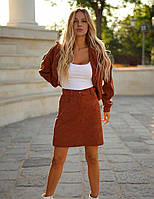 Женский вельветовый коричневый костюм юбочный