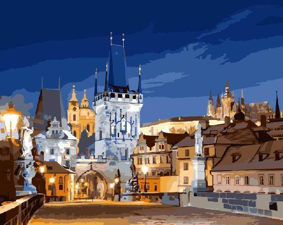Картина за номерами Ночная Прага GX8918 40х50см набір для розпису, фарби та пензлі набір для розпису, фарби та