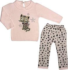 Теплий костюм на дівчинку зріст 68 3-6 міс для новонароджених комплект ошатний в'язаний трикотаж рожевий