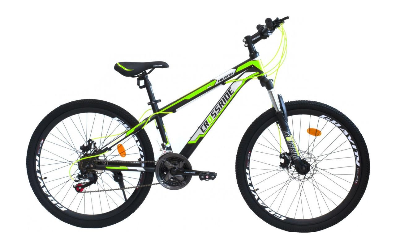 """Підлітковий гірський велосипед Crossride HILAND R24"""" 13"""" з дисковими гальмами (Чорно-салатовий)"""