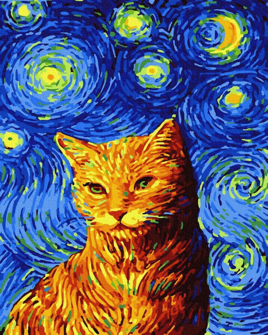 Картина за номерами Кот в звездную ночь GX35619 40х50см набір для розпису, фарби та пензлі
