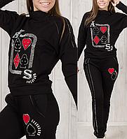 Женский спортивный костюм турецкий стильный с лампасами № 8898 чёрный