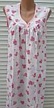 Ночная рубашка без рукава 58 размер Розовые букеты, фото 3