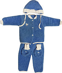 Теплий костюм на хлопчика зріст 62 2-3 міс для новонароджених малюків комплект дитячий махровий синій