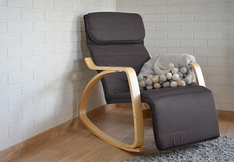 Крісло качалка для відпочинку з підставкою для ніг