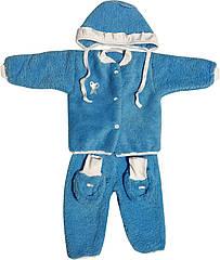 Теплий костюм на хлопчика зріст 62 2-3 міс для новонароджених малюків комплект дитячий махровий блакитний