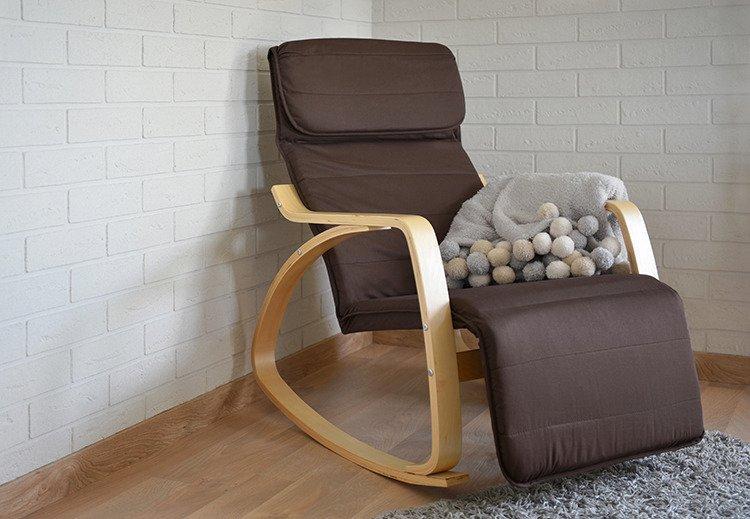 Крісло качалка для відпочинку з підставкою для ніг Lusso Imaggio коричневий