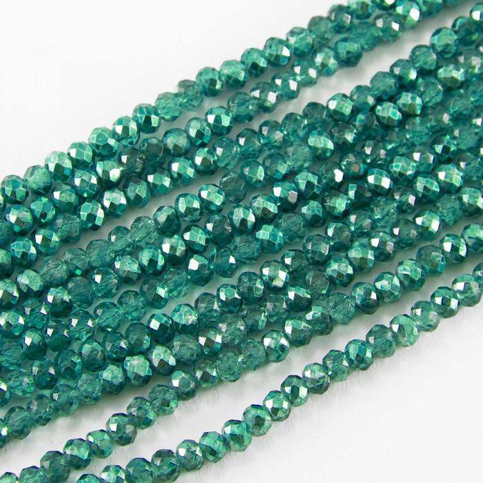 Бусины Стекло, Граненые, Рондель, Цвет: Зеленый Морской, Размер: 3х2.5мм, Отверстие 0.5мм, около 148шт/37см/нить