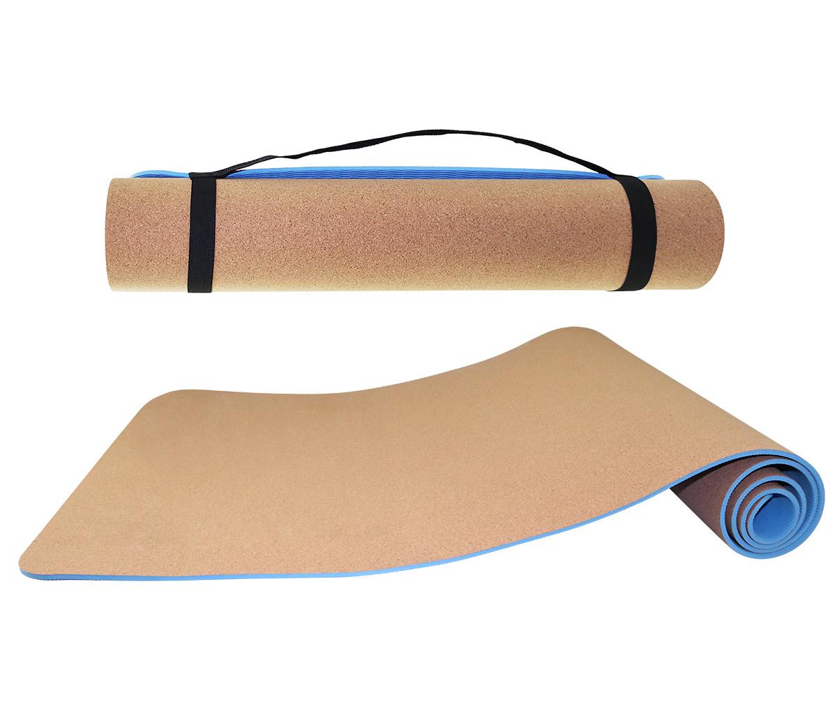 Килимок (мат) для йоги та фітнесу SportVida TPE+Cork 0.6 см SV-HK0318