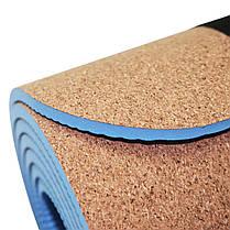 Коврик (мат) для йоги и фитнеса SportVida TPE+Cork 0.6 см SV-HK0318, фото 2