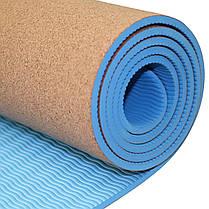 Коврик (мат) для йоги и фитнеса SportVida TPE+Cork 0.6 см SV-HK0318, фото 3