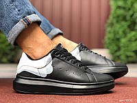 Мужские кроссовки Alexander Mcqueen черные демисезонные кеды Александр Маквин на шнуровке в стиле Still
