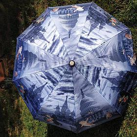 Зонт жіночий, підлітковий сірий. Малюнок Міста і коти арт 413-2