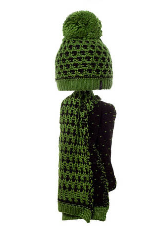 Детский комплект: вязаная шапочка с бумбоном и шарфик., фото 2
