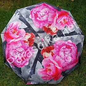 Зонт жіночий сірий з рожевим квіткою піоном арт.791-4