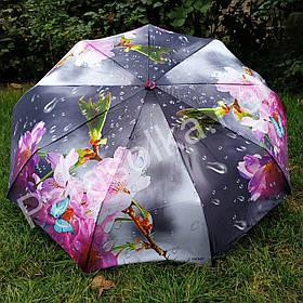 Зонт жіночий сірий з рожевим квіткою арт.791-6