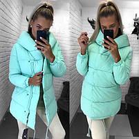 Женская теплая удлиненная куртка-зефирка с капюшоном (Норма), фото 2