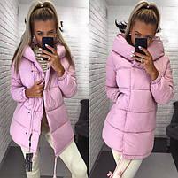 Женская теплая удлиненная куртка-зефирка с капюшоном (Норма), фото 3
