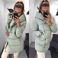 Женская теплая удлиненная куртка-зефирка с капюшоном (Норма), фото 4