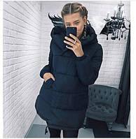Женская теплая удлиненная куртка-зефирка с капюшоном (Норма), фото 5