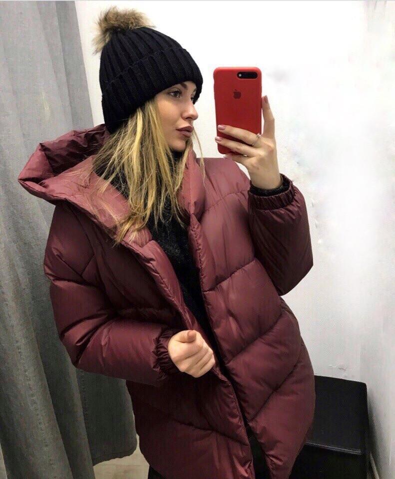 Женская теплая удлиненная куртка-зефирка с капюшоном (Норма)