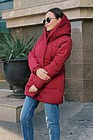 Женская теплая удлиненная куртка-зефирка с капюшоном (Норма), фото 7