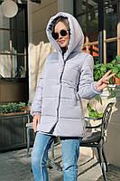 Женская теплая удлиненная куртка-зефирка с капюшоном (Норма), фото 8