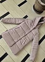 Женская теплая удлиненная куртка-зефирка с капюшоном (Норма), фото 9