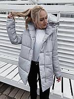 Женская теплая удлиненная куртка-зефирка с капюшоном (Норма), фото 10