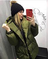 Жіноча тепла подовжена куртка-зефирка з капюшоном (Норма), фото 2