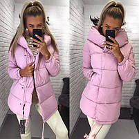 Жіноча тепла подовжена куртка-зефирка з капюшоном (Норма), фото 5