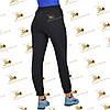 Спортивні брюки з накладними кишенями на манжеті-резинці трехнитка на флісі колір чорний, фото 3