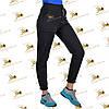 Спортивні брюки з накладними кишенями на манжеті-резинці трехнитка на флісі колір чорний, фото 2
