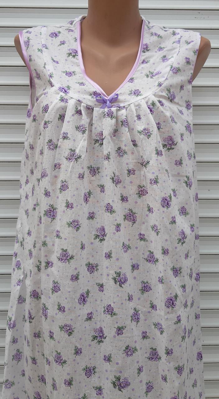 Ночная рубашка без рукава 64 размер Сиреневые розочки