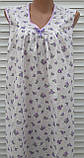 Ночная рубашка без рукава 64 размер Сиреневые розочки, фото 4