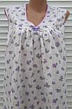 Ночная рубашка без рукава 64 размер Сиреневые розочки, фото 6