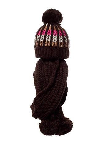 Женский комплект: вязаная шапочка с бумбоном и шарфик, Loman Польша., фото 2