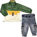Дитячий демісезонний костюм зростання 74 6-9 міс трикотажний зелений костюмчик на хлопчика комплект з джинсами, фото 2